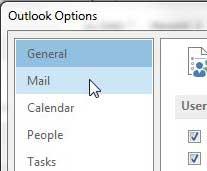 нажмите на почту в левом столбце параметров Outlook