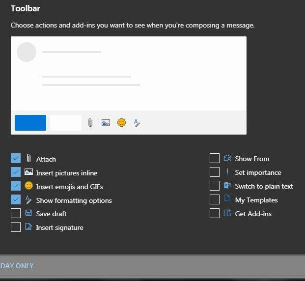 как добавить кнопки на панель инструментов в outlook.com