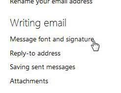 шрифт сообщения и меню подписи