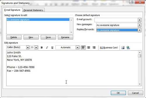 изменить подпись Outlook 2010