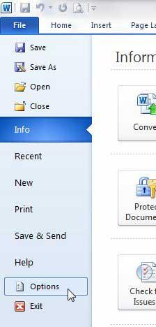 нажмите файл, затем нажмите параметры
