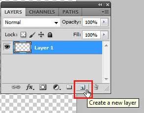 нажмите кнопку создания нового слоя в нижней части панели слоев
