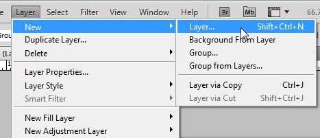 как создать новый слой в Photoshop CS5