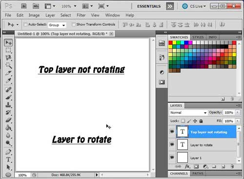 откройте изображение с тем слоем, который вы хотите повернуть в Photoshop CS5
