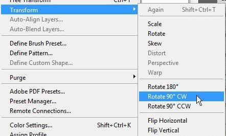 откройте меню редактирования, затем откройте меню трансформации