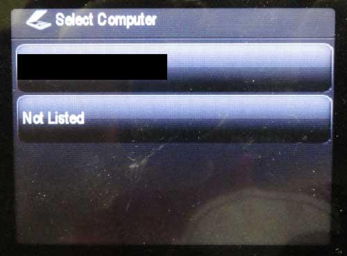выберите компьютер, на который вы хотите сканировать элемент
