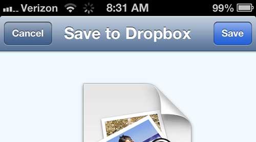 как сохранить графическое сообщение в dropbox на iphone 5