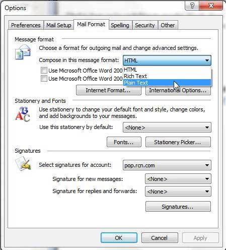 составлять сообщения в виде обычного текста в Outlook 2003