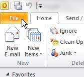 вкладка файла Outlook 2010