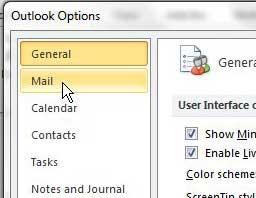 откройте почтовое меню Outlook 2010