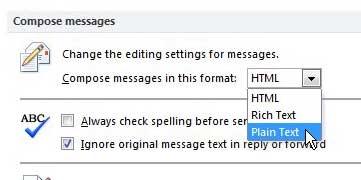 Как составить все сообщения в Outlook 2010 в виде простого текста