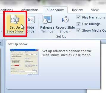 нажмите кнопку настройки слайд-шоу