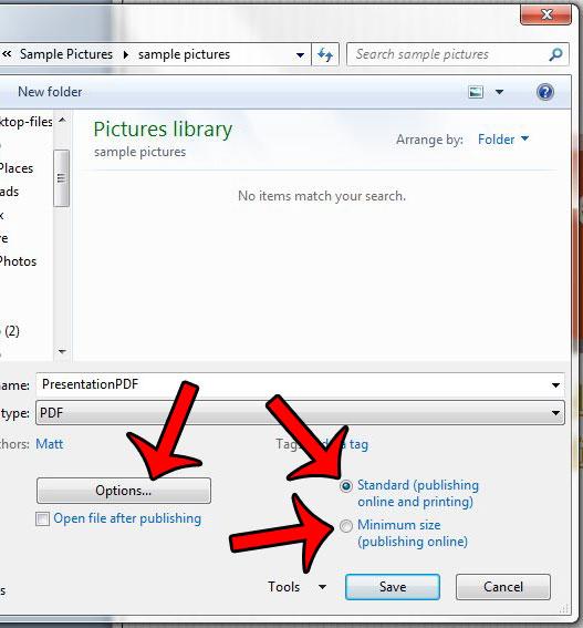 выберите размер файла и нажмите параметры