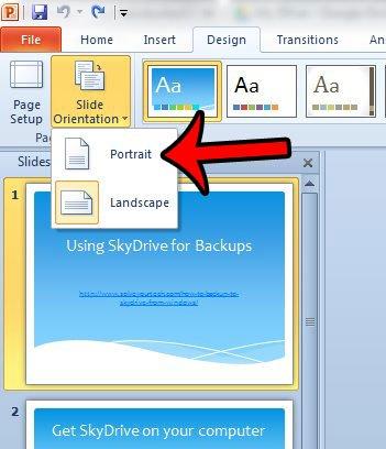Как сделать портрет Powerpoint в Powerpoint 2010