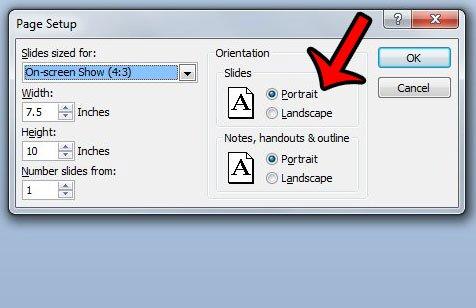 изменить ориентацию слайда в меню настроек страницы