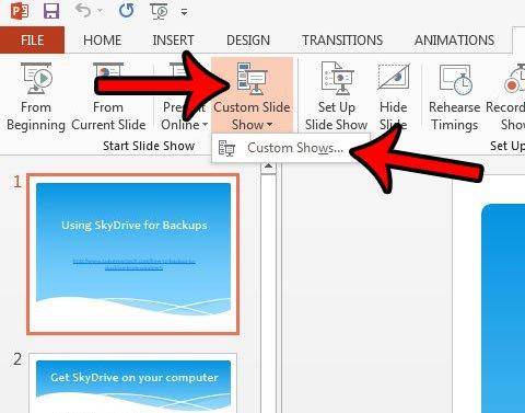 показать только некоторые слайды в PowerPoint 2013