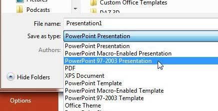 сохранить как powerpoint 2003