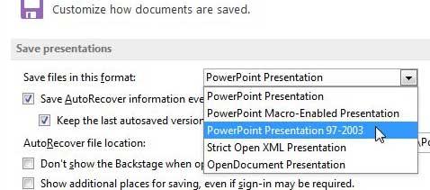 как сохранить в формате .ppt по умолчанию в PowerPoint 2013