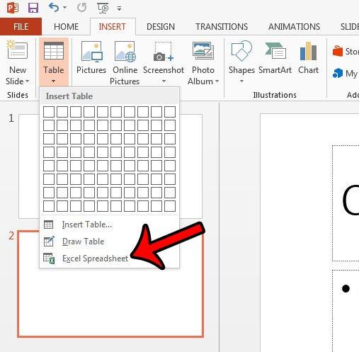 вставить пустую электронную таблицу в PowerPoint 2013