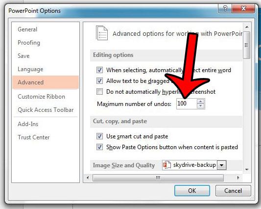 как изменить максимальное количество отмен в PowerPoint 2013