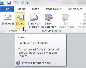 как печатать адресные метки от слова 2010