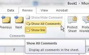 показать комментарии в Excel 2010