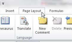 вкладка макет страницы Excel 2010