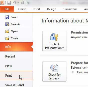 открыть меню печати PowerPoint 2010
