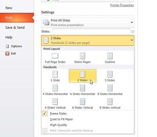 как вы печатаете раздаточные материалы в PowerPoint 2010