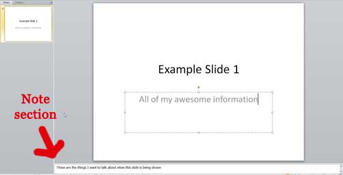 раздел заметок PowerPoint 2010