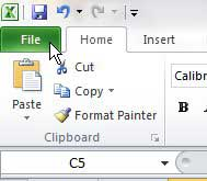щелкните вкладку файла Excel 2010