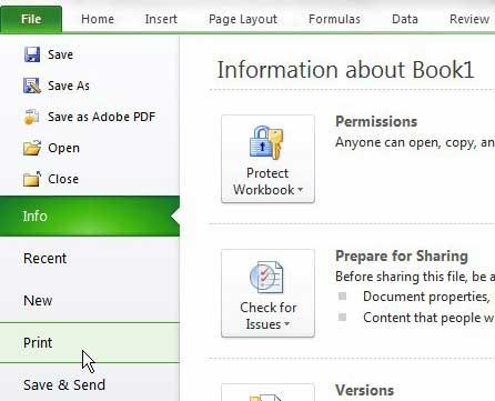 открыть меню печати Excel 2010