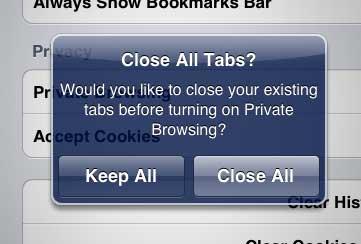 сохранить все или закрыть все вкладки сафари ipad