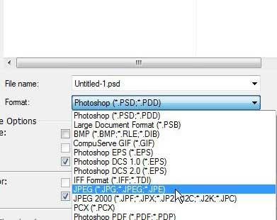 выберите формат файла JPEG для конвертации из PSD в JPEG