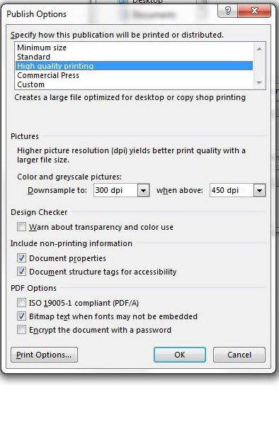 указать настройки для файла PDF