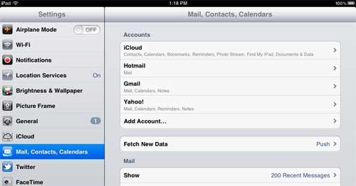 откройте окно настройки почты на вашем ipad