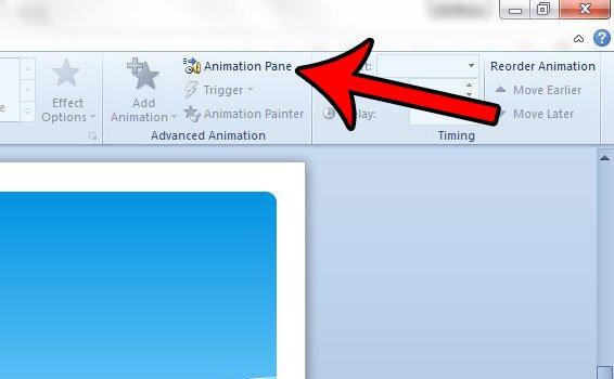 нажмите кнопку панели анимации