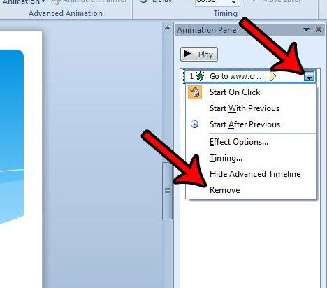 как удалить одну анимацию в Powerpoint 2010
