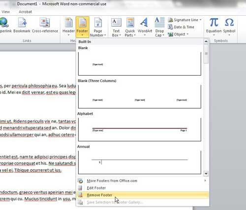 как удалить нижний колонтитул из Microsoft Word 2010