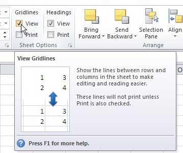 как удалить линии сетки из представления в Excel 2010