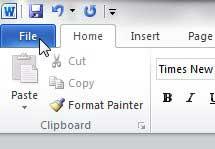 вкладка файла Word 2010