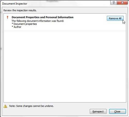 как удалить личную информацию из документов Word 2010