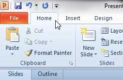 щелкните домашнюю вкладку powerpoint 2010