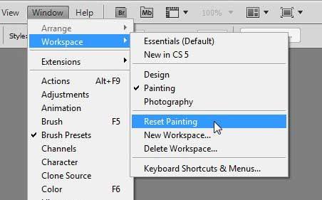 Как сбросить макет панели рабочего пространства в Photoshop CS5