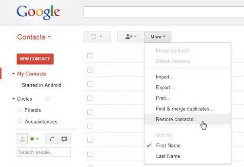как восстановить контакты гугл аккаунта