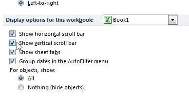как просмотреть полосу прокрутки в Excel 2010