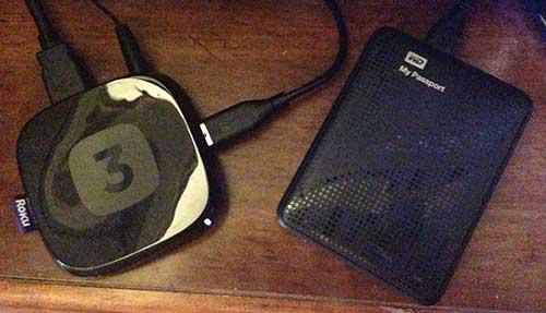 USB жесткий диск подключен к Roku 3