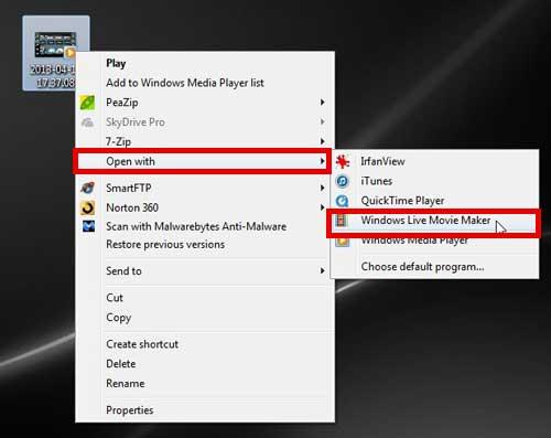 щелкните правой кнопкой мыши файл, нажмите кнопку Открыть с помощью, щелкните Windows Live Movie Maker