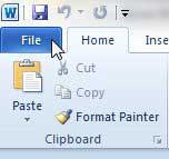 нажмите вкладку файла Word 2010