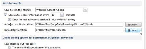 как сохранить файлы Word 2010 на Skydrive по умолчанию